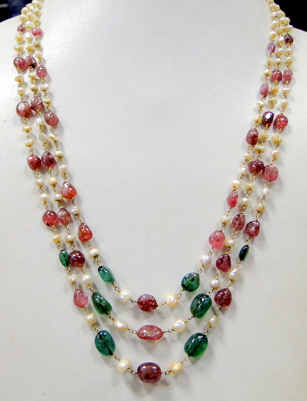 pearl jewelry stone for diamond necklaces sale antique ruby z four multi strand necklace at indian