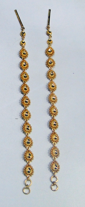 gold Hair chains 22K gold  handmade earrings chain to wear with earrings wedding