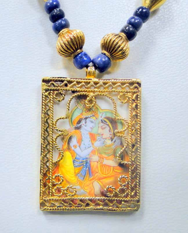 Vintage 21 ct solid gold radha krishna pendant hand painting 9634 ebay vintage 21 ct solid gold radha krishna pendant aloadofball Images