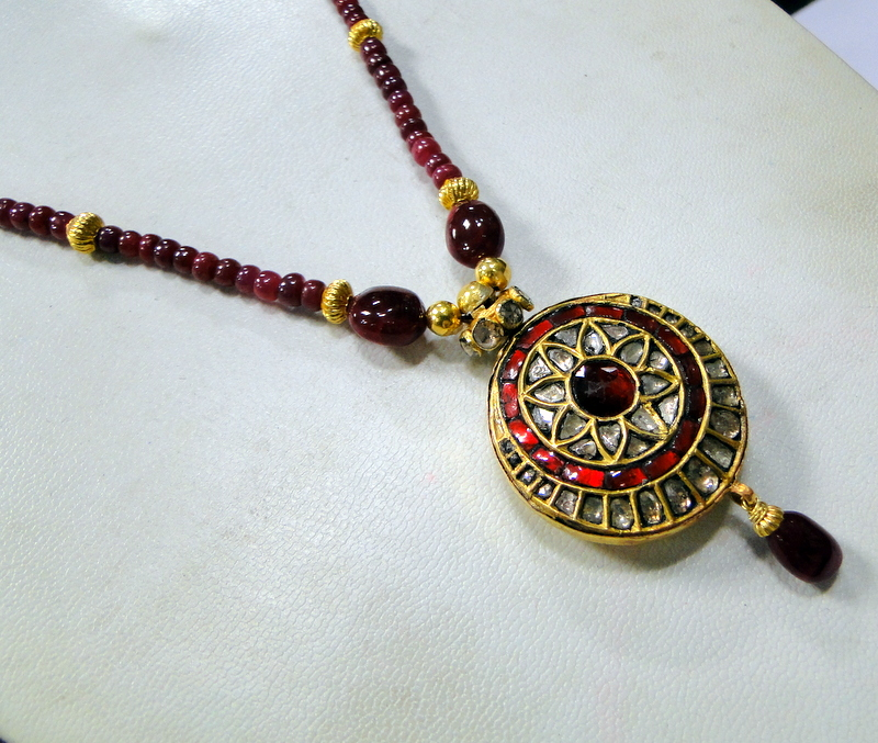 Vintage diamond necklace 22k gold ruby beads gemstone strand ebay vintage diamond necklace 22k gold amp ruby beads mozeypictures Gallery