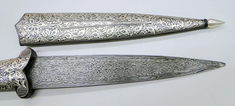 Details About Damascus Steel Blade Lion Head Knife With Pure Silver Wire Work