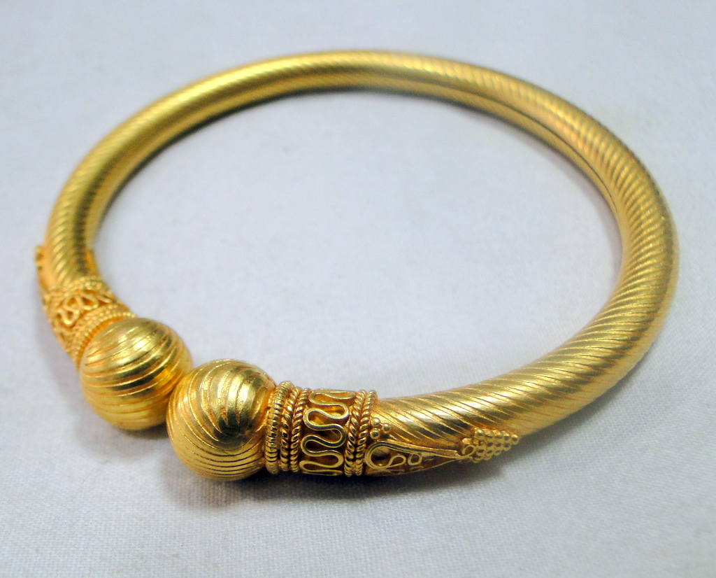 Details about Gold Bangle 22K Gold cuff bracelet fine handmade jewelry  traditional